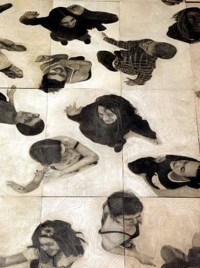 Allora  & Calzadilla, Charcoal Dance Floor 1998, Charcoal on wood